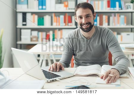 Man Studying In The Office