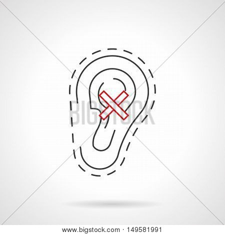 Ear with crossed sign - hearing loss symbol. Human anacusis and deafness caused with smoking and other bad habits. Black and red flat line vector icon.