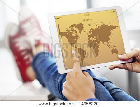 World Map Travel Application Concept