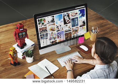 Picture Robots Working Home Concept
