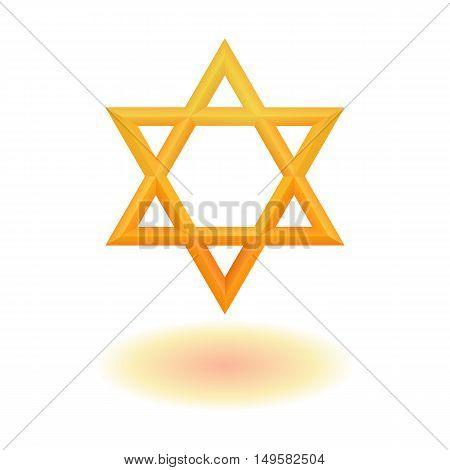 Golden six pointed geometric star figure. Star of David. Hexagram. Vector, isolated, esp 10