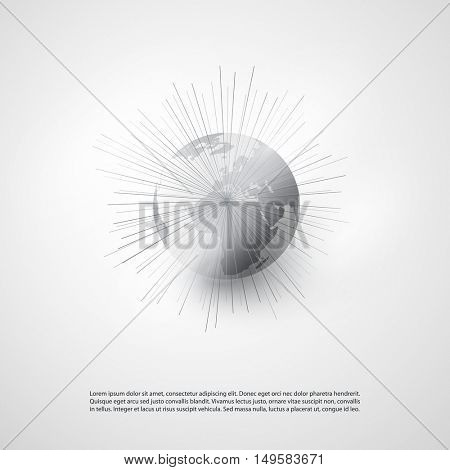 Cloud Computing and Networks with Earth Globe - Abstract Global Digital Network Connections, Technology Concept Background, Creative Design Element Template