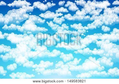 Vector Clouds. Cartoon Clouds. Illustration On Blue Background For Design