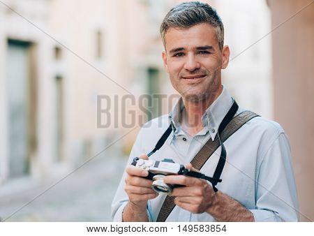 Photographer Exploring A City