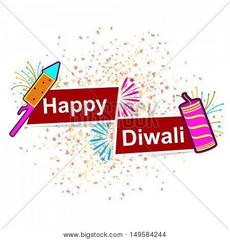 Colourful Firecrackers with Text Happy Diwali on red Banners, Vector Greeting Card for Indian Festival of Lights Celebration.