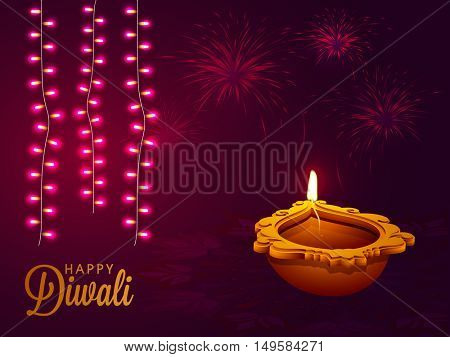 Happy Diwali celebration background with creative oil lamp, illuminated lights and firework explosion.