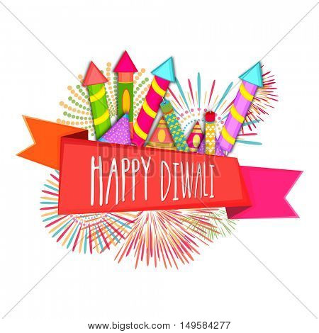 Colourful firecrackers with Happy Diwali Ribbon, Vector Illustration for Indian Festival of Lights Celebration.
