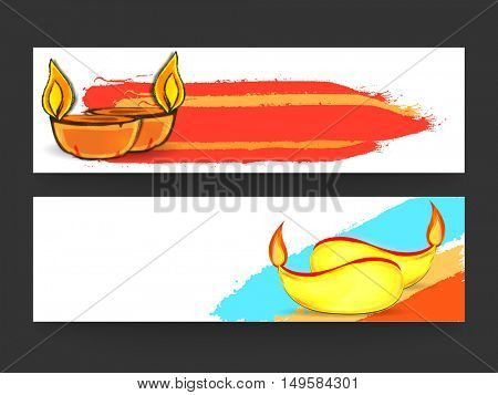 Website Header or Banner Set, Vector Promotional Advertising Illustration with creative Lit Lamps for Indian Festival, Happy Diwali Celebration.