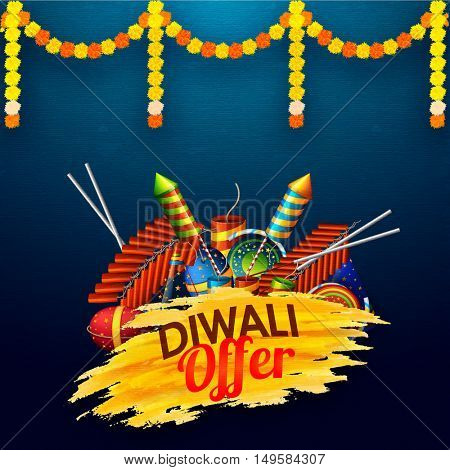 Diwali Sale Flyer, Banner or Poster with colourful glossy Firecrackers. Vector Sale Background with flowers decoration.