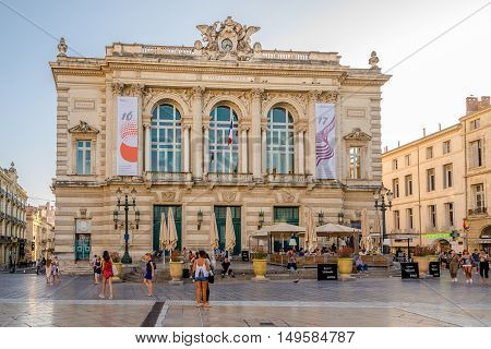 MONTPELLIER,FRANCE - AUGUST 26,2016 - Opera building at the Comedy place in Montpellier. Montpellier is the capital of the Herault department and is the 8th largest city of France.