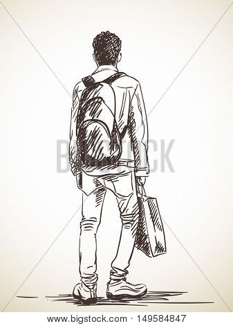 Sketch of standing man with shopping bag Hand drawn illustration