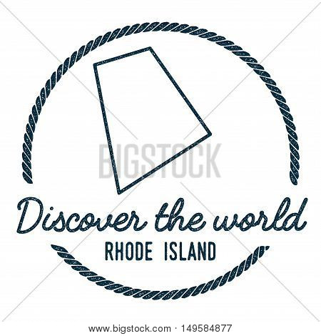 Rhode Island Map Outline. Vintage Discover The World Rubber Stamp With Rhode Island Map. Hipster Sty