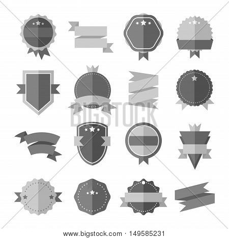 Modern flat design badge icon. Vector badges flat modern style. Vintage, retro flat badges, labels and ribbons. Badges isolated, modern flat solid style. Badges icons, badges logo. Badges icons
