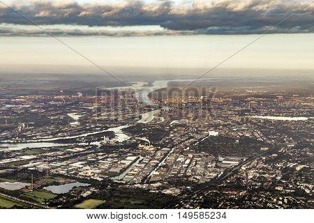 Aerial Of Hamburg With Harbor
