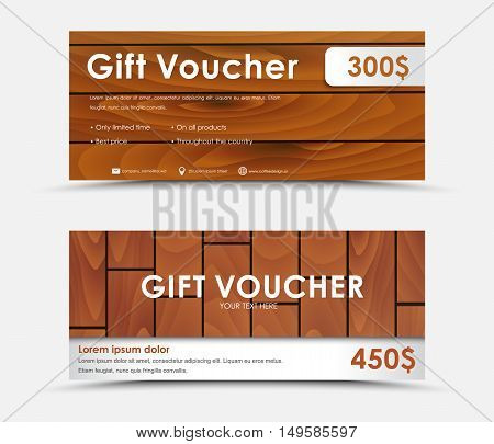 Design Gift Voucher With Different Wood Texture