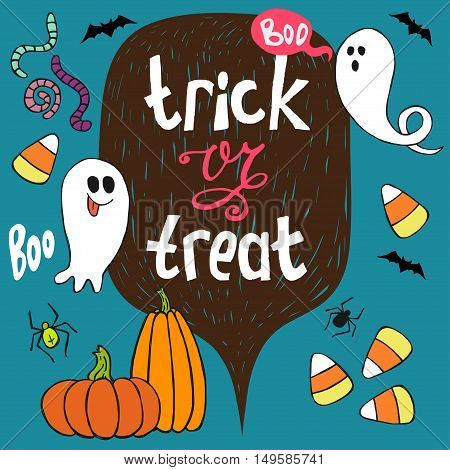 Set of colorful hand drawn halloween doodles with cartoon ghosts pumpkins bats worms candy corns and other elements. Trick or threat hand lettering.
