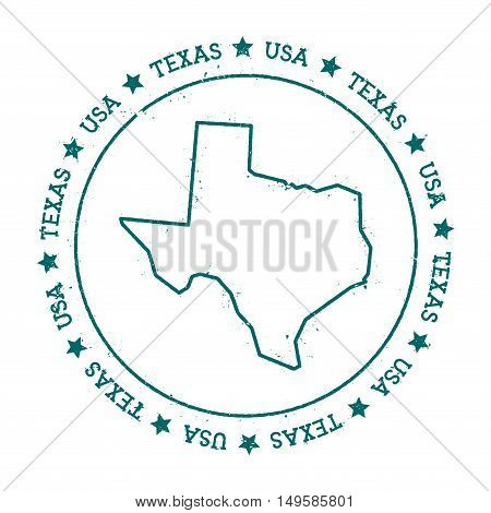 Texas Vector Map. Retro Vintage Insignia With Us State Map. Distressed Visa Stamp With Texas Text Wr