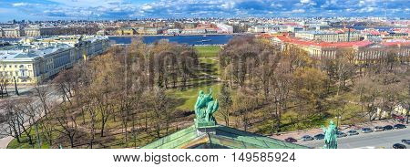 Panorama of the Alexander Garden with Neva river and Vasilyevsky Island on the background from the St Isaac's Cathedral's roof St Petersburg Russia.