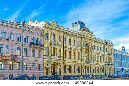 SAINT PETERSBURG RUSSIA - APRIL 25 2015: The mansion famous as the First Mutual Credit Society House located along Griboedov Canal on April 25 in Saint Petersburg.