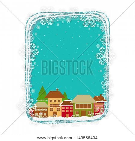 Snowflakes decorated frame with colorful houses, Elegant greeting card design for Merry Christmas celebration.