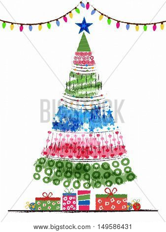Colorful hand drawn Xmas Tree with gift boxes for Merry Christmas celebration.