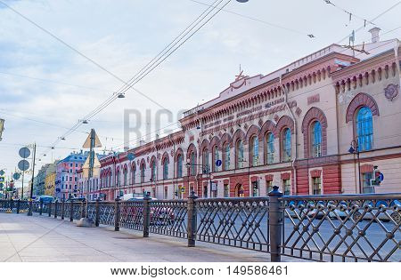 SAINT PETERSBURG RUSSIA - APRIL 25 2015: The building of Mikhailovsky Military Artillery Academy located in Liteyny Prospekt on April 25 in Saint Petersburg.