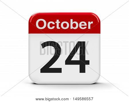 Calendar web button - The Twenty Fourth of October - United Nations Day and World Development Information Day three-dimensional rendering 3D illustration