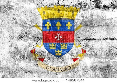 Flag Of Saint - Barthelemy, Painted On Dirty Wall
