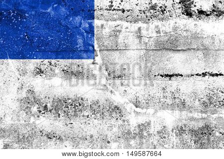 Flag Of San Sebastian, Spain, Painted On Dirty Wall