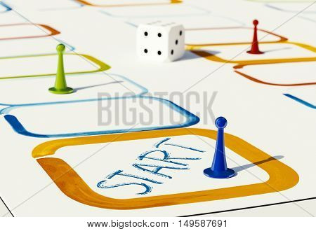 plastic pawns for board games in various colors 3d illustration on white background