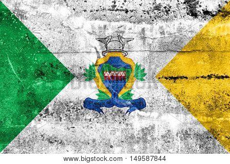 Flag Of Santa Leopoldina, Espirito Santo State, Brazil, Painted On Dirty Wall