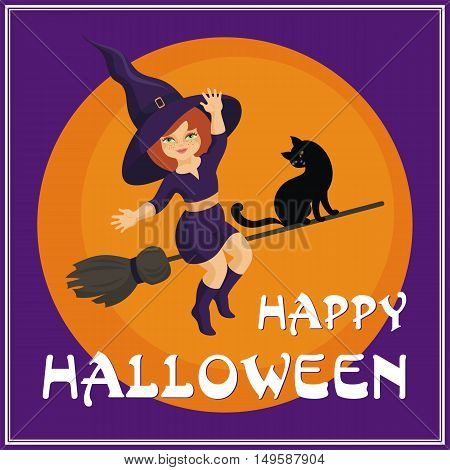 Halloween greeting card with the image of the little witch and full moon