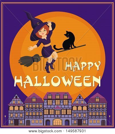 Halloween greeting card with the image of the little witch and old houses