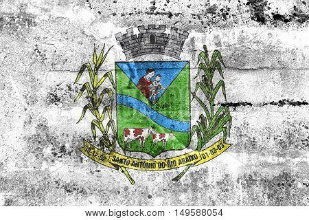 Flag Of Santo Antonio Do Rio Abaixo, Brazil, Painted On Dirty Wall