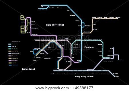 3d illustration of the Honk Kong metro map isolated on black background