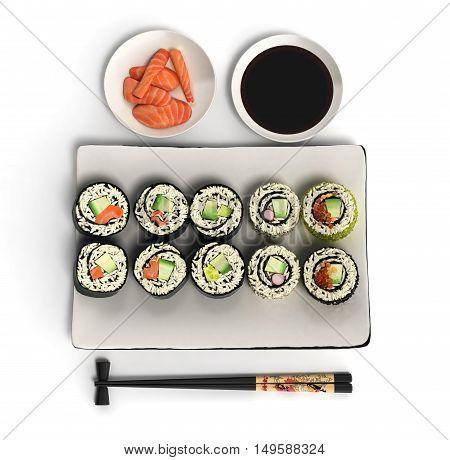 Online Japanese Food Sushi Rolls 3D Render On White