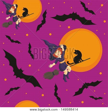 Halloween seamless pattern  with the image of the little witch and full moon