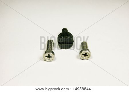 A set of metal shiny screws and bolts for use in your designs