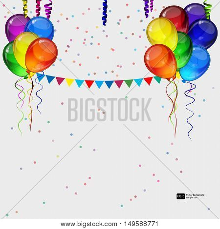 Birthday party vector background - realistic transparency colorful festive balloons, confetti, ribbons flying for celebrations card in isolated white background with space for you text.