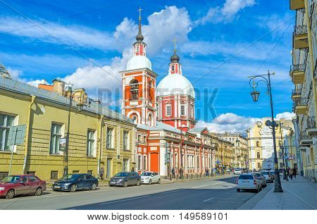 SAINT PETERSBURG RUSSIA - APRIL 25 2015: The Church of Great Martyr and Healer St. Panteleimon is sandwiched between old mansions in Pestel street on April 25 in Saint Petersburg.