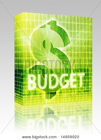 Software package box Budget Finance illustration, dollar symbol over financial design