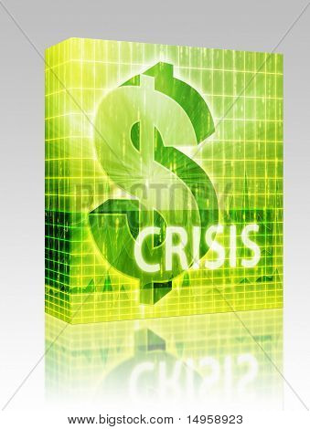 Software package box Crisis Finance illustration, dollar symbol over financial design