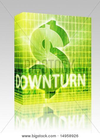 Software package box Downturn Finance illustration, dollar symbol over financial design