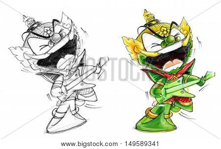 Thai Giant Green color Playing erectric guitar showing talent skill character Design cute and funny isolate.