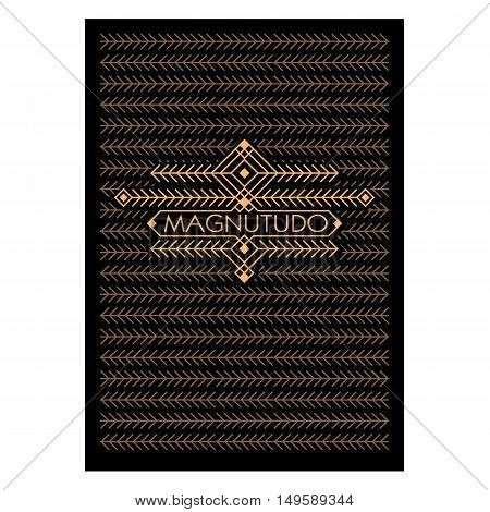 Vintage Luxury Antique Art Deco Monochrome Gold Flourishes frame. Ornamental Greeting Card Vector Template. Background cover. Title page. Hipster Style