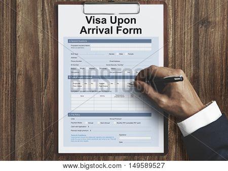 Visa Upon Arrival Form Concept
