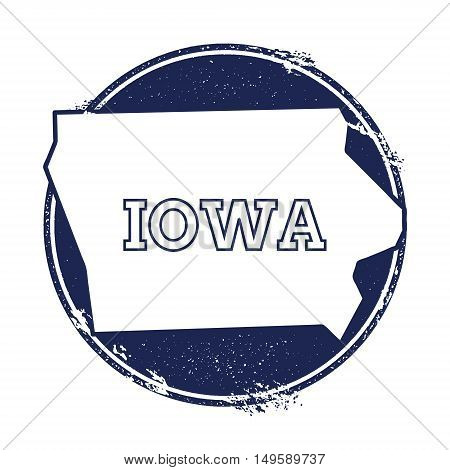 Iowa Vector Map. Grunge Rubber Stamp With The Name And Map Of Iowa, Vector Illustration. Can Be Used