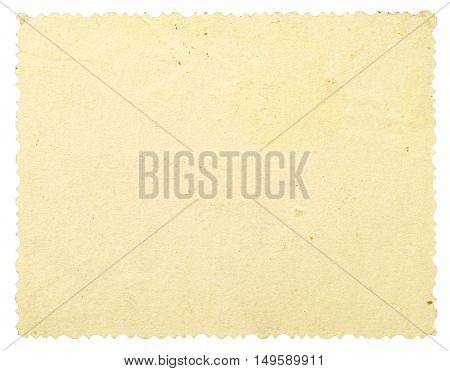 Reverse side of an old photo with a decorative border isolated on white