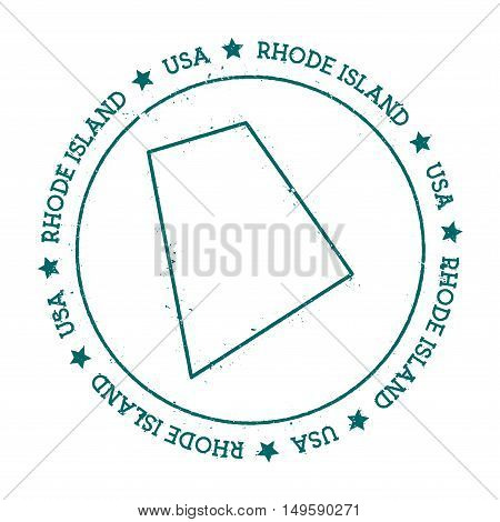 Rhode Island Vector Map. Retro Vintage Insignia With Us State Map. Distressed Visa Stamp With Rhode