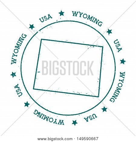 Wyoming Vector Map. Retro Vintage Insignia With Us State Map. Distressed Visa Stamp With Wyoming Tex